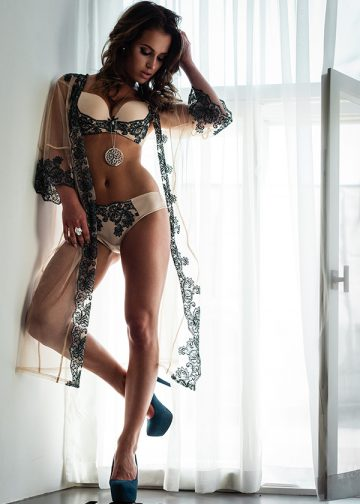 Beautiful lady in sexy lingerie and sheer night gown standing infront of a window.